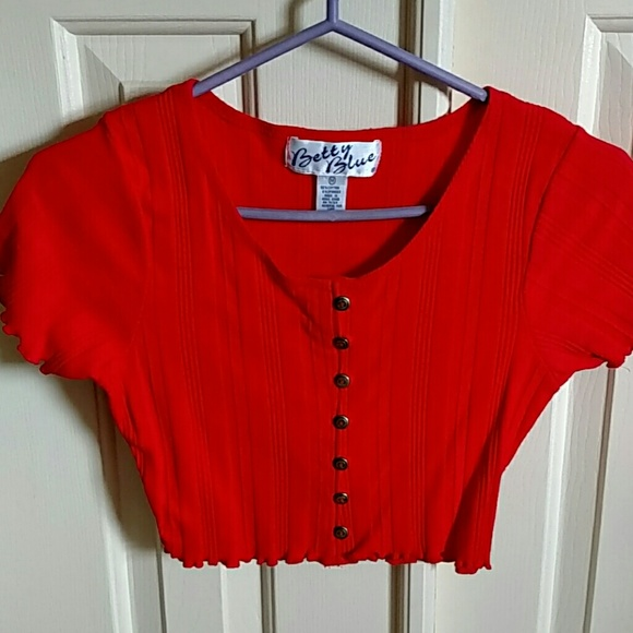 d7766f711109d6 Betty Blue Tops - Cute! Juniors red crop top